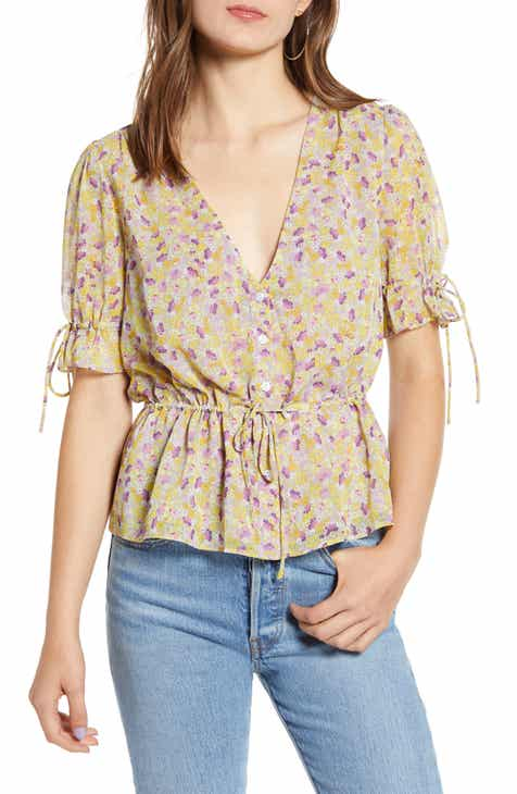 The East Order Arlo Floral Tie Sleeve Blouse