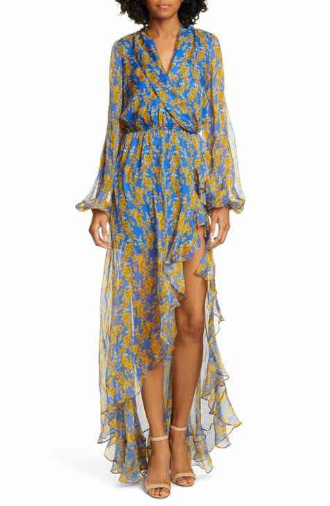 820be39f257c Caroline Constas Liv Floral Print Long Sleeve High/Low Gown