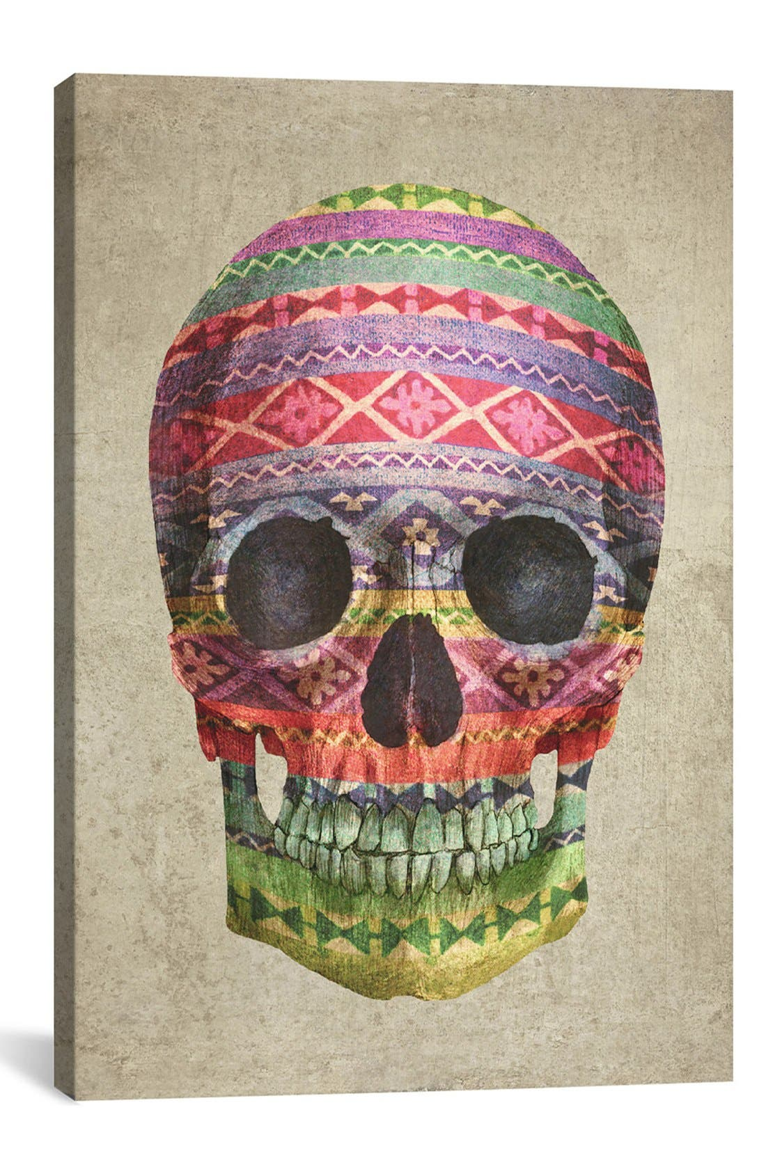 Alternate Image 1 Selected - iCanvas 'Skull - Terry Fan' Giclée Print Canvas Art