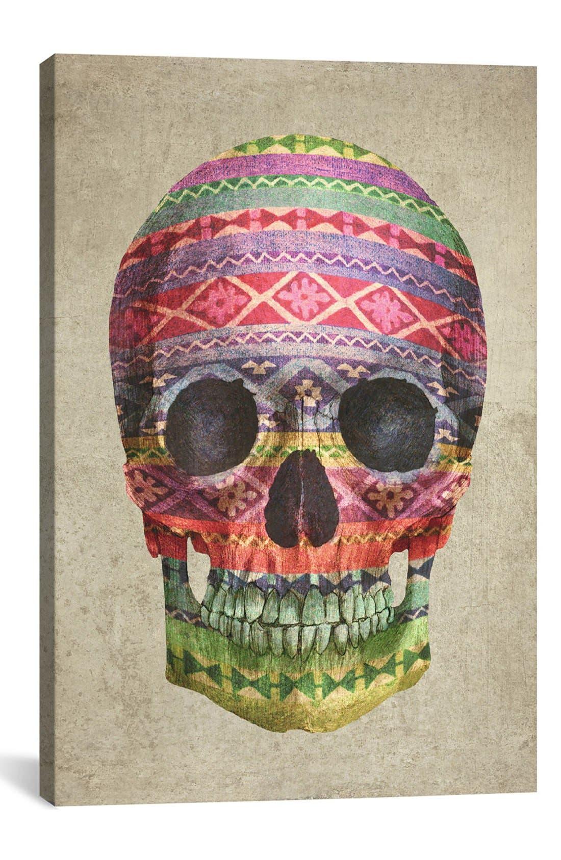 'Skull - Terry Fan' Giclée Print Canvas Art,                             Main thumbnail 1, color,                             Grey