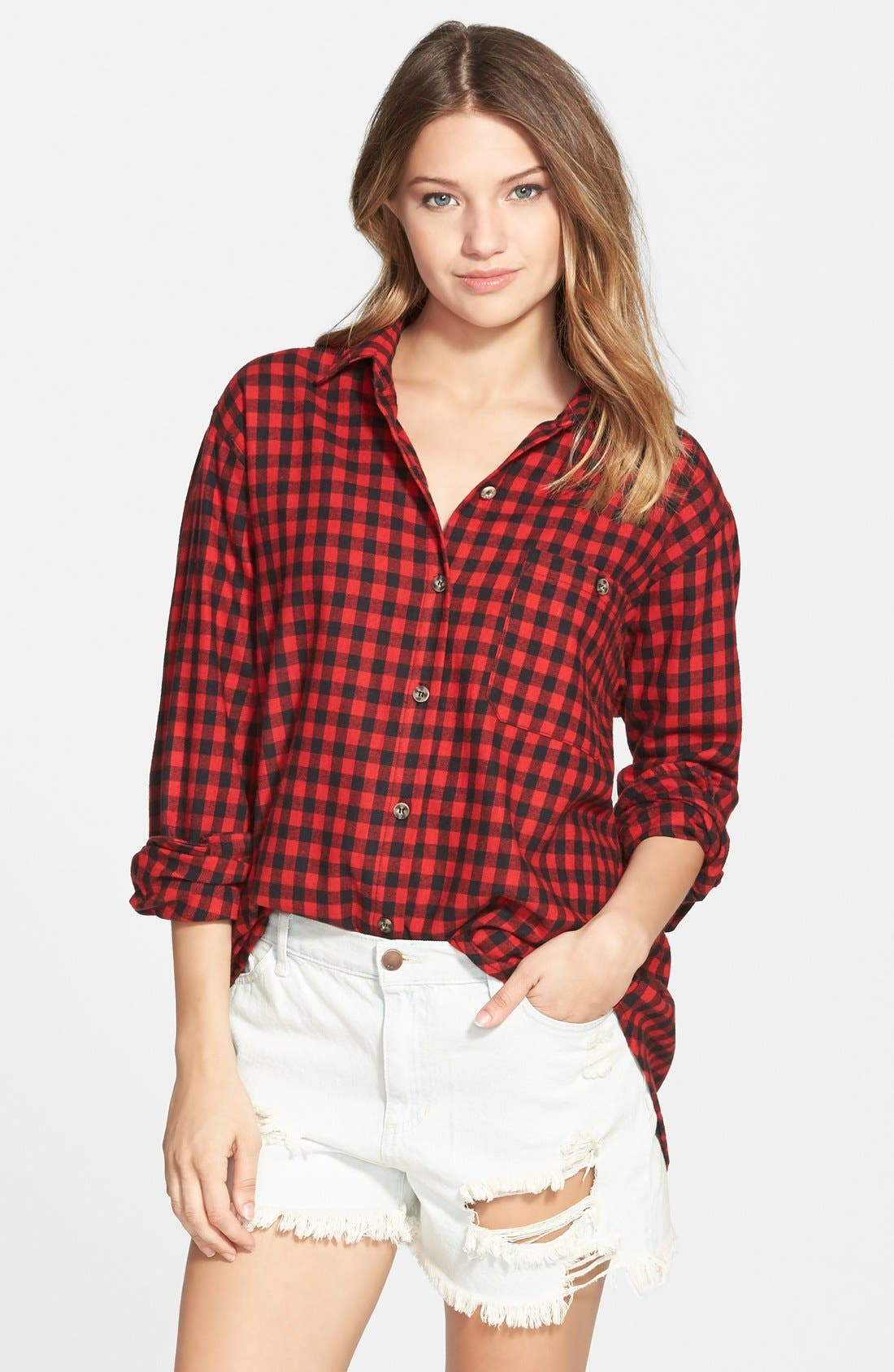 Alternate Image 1 Selected - Mimi Chica Plaid Cotton Flannel Shirt (Juniors)