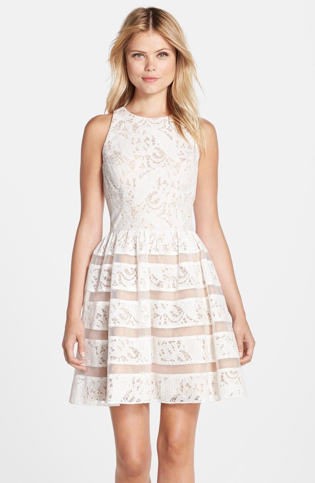 Alternate Image 1 Selected - Aidan by Aidan Mattox Lace Fit & Flare Dress