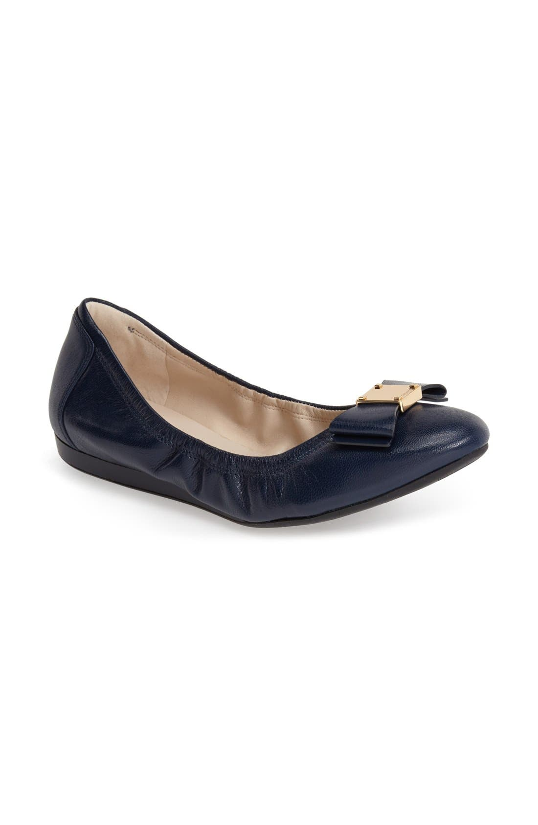 'Tali' Leather Ballet Flat,                             Main thumbnail 1, color,                             Blazer Blue
