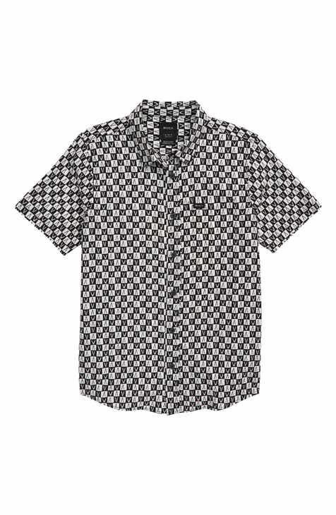 RVCA Greyscale Woven Shirt (Big Boys)