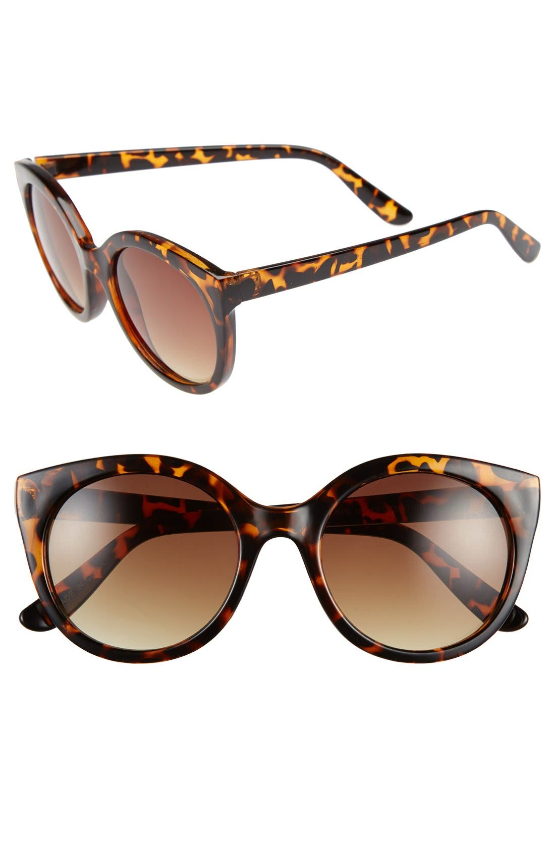 60mm Retro Sunglasses,                         Main,                         color, Tort