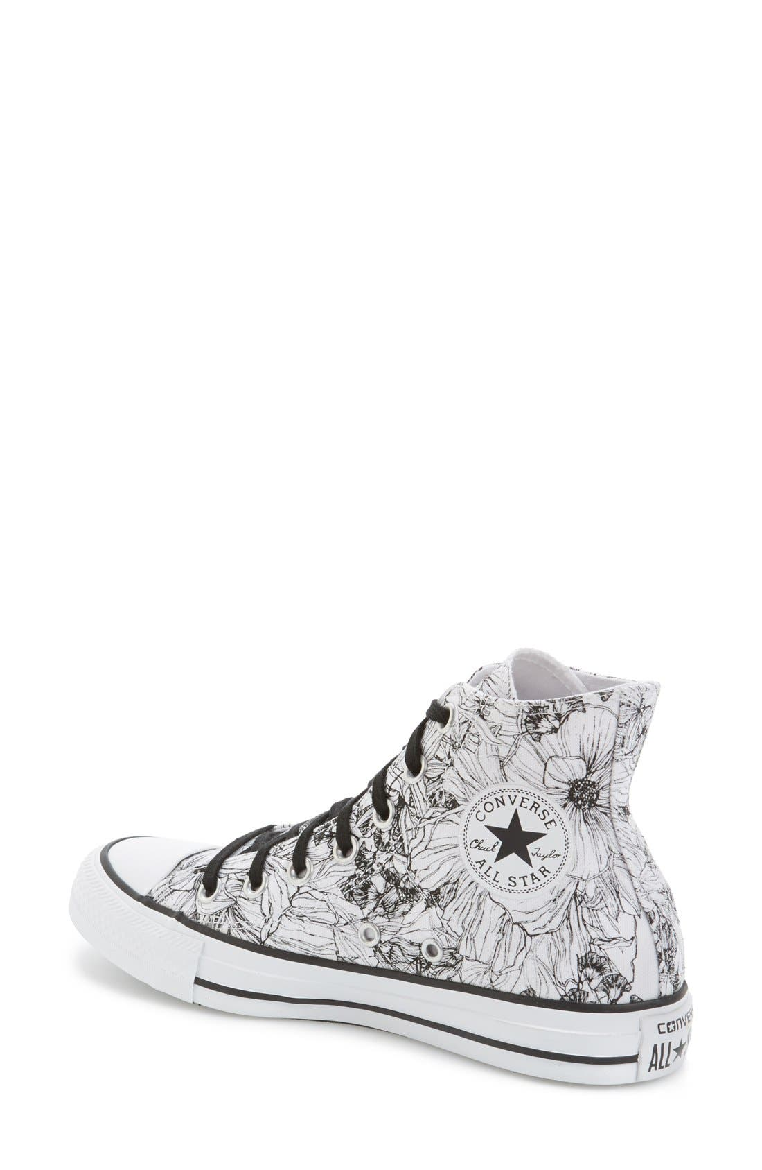 Alternate Image 2  - Converse Chuck Taylor® All Star® Floral Outline High Top Sneaker (Women)