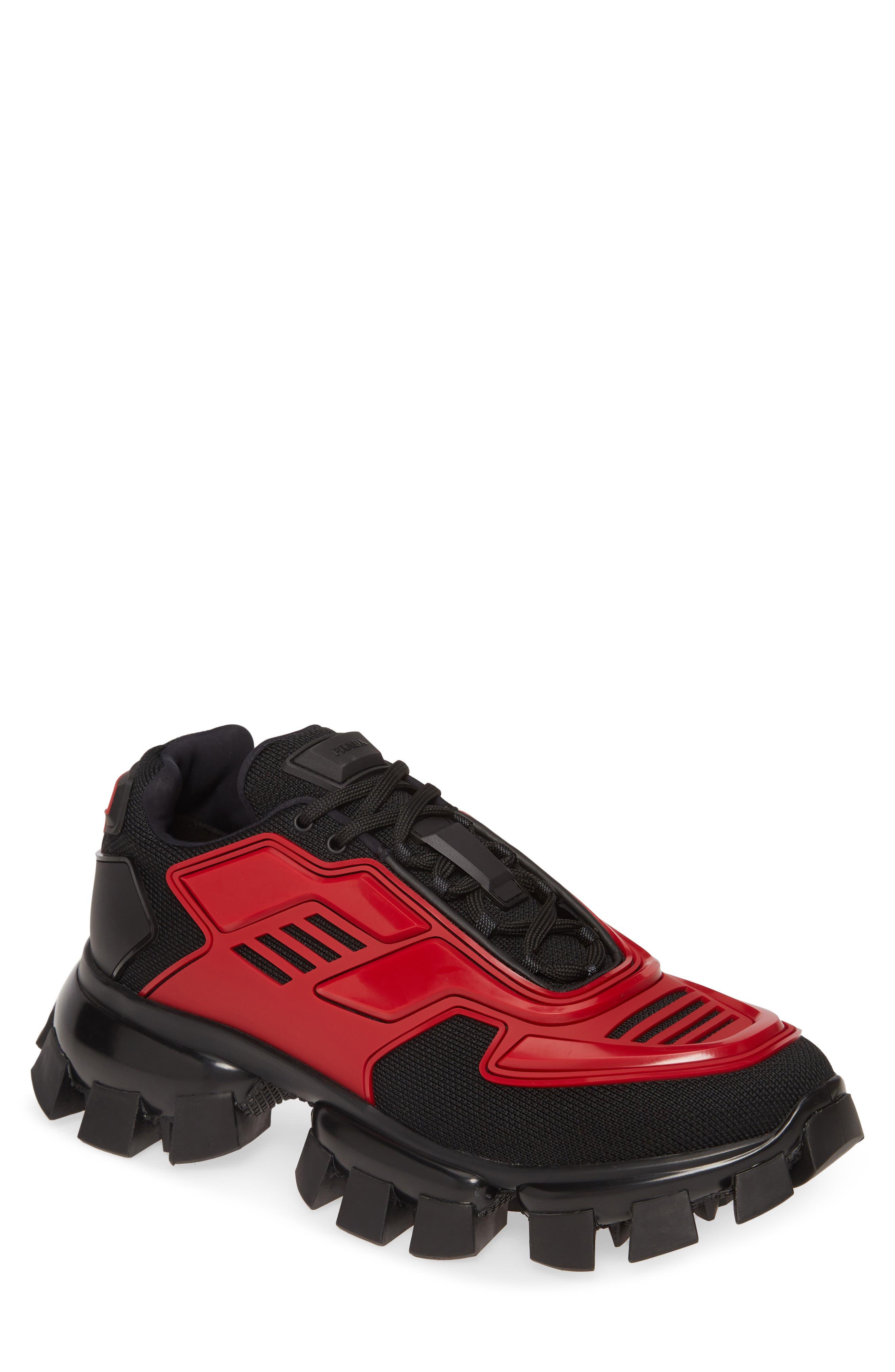 Prada Damen Turnschuhe Bianco + Rosso: : Schuhe
