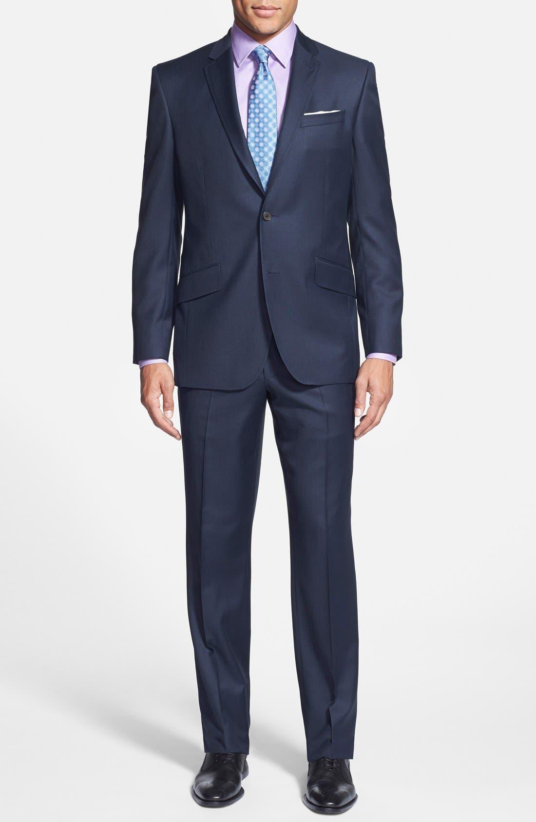 Jones Trim Fit Solid Wool Suit,                             Main thumbnail 1, color,                             Blue