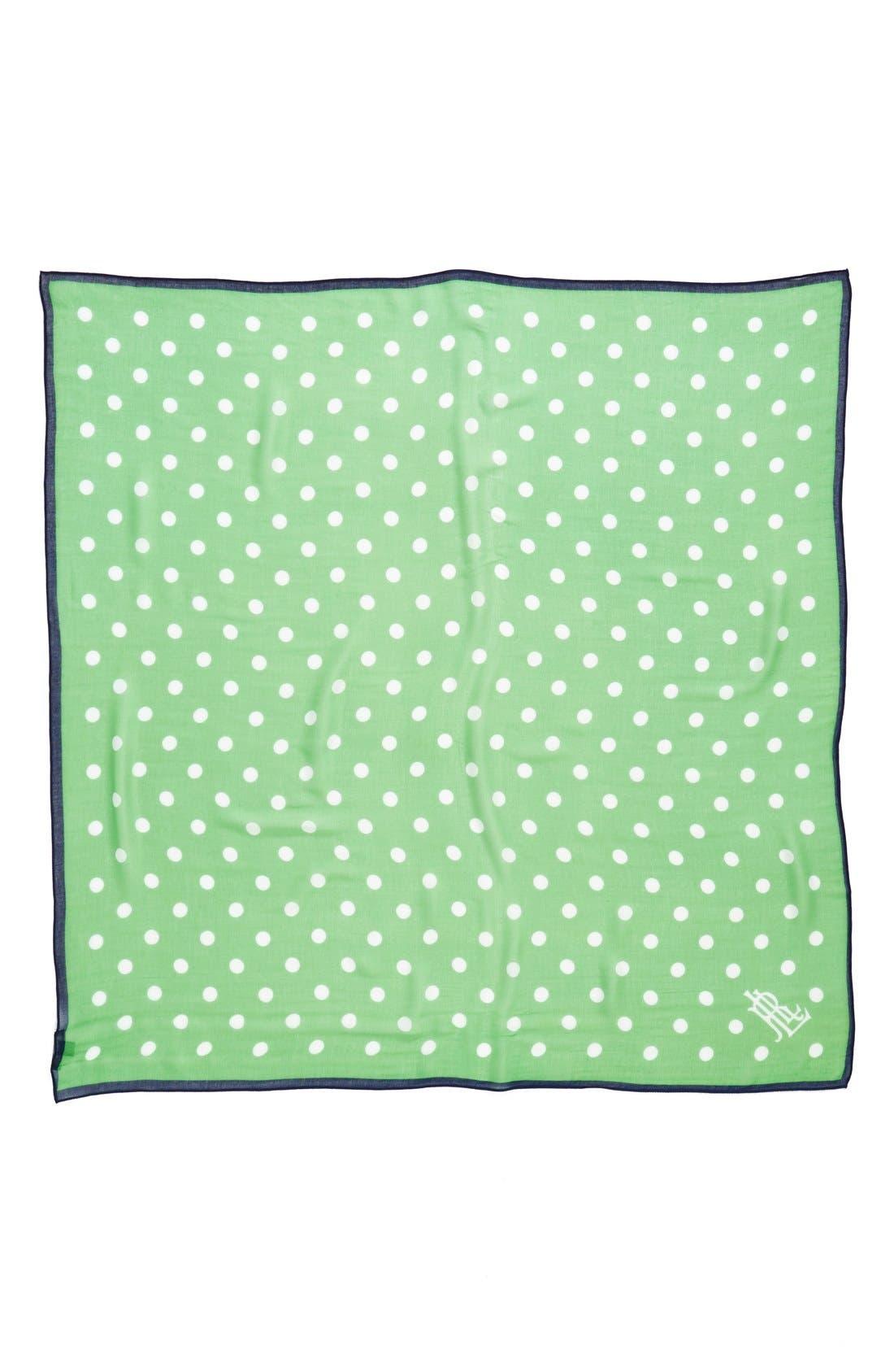 Dot Print Square Scarf,                             Alternate thumbnail 2, color,                             Green