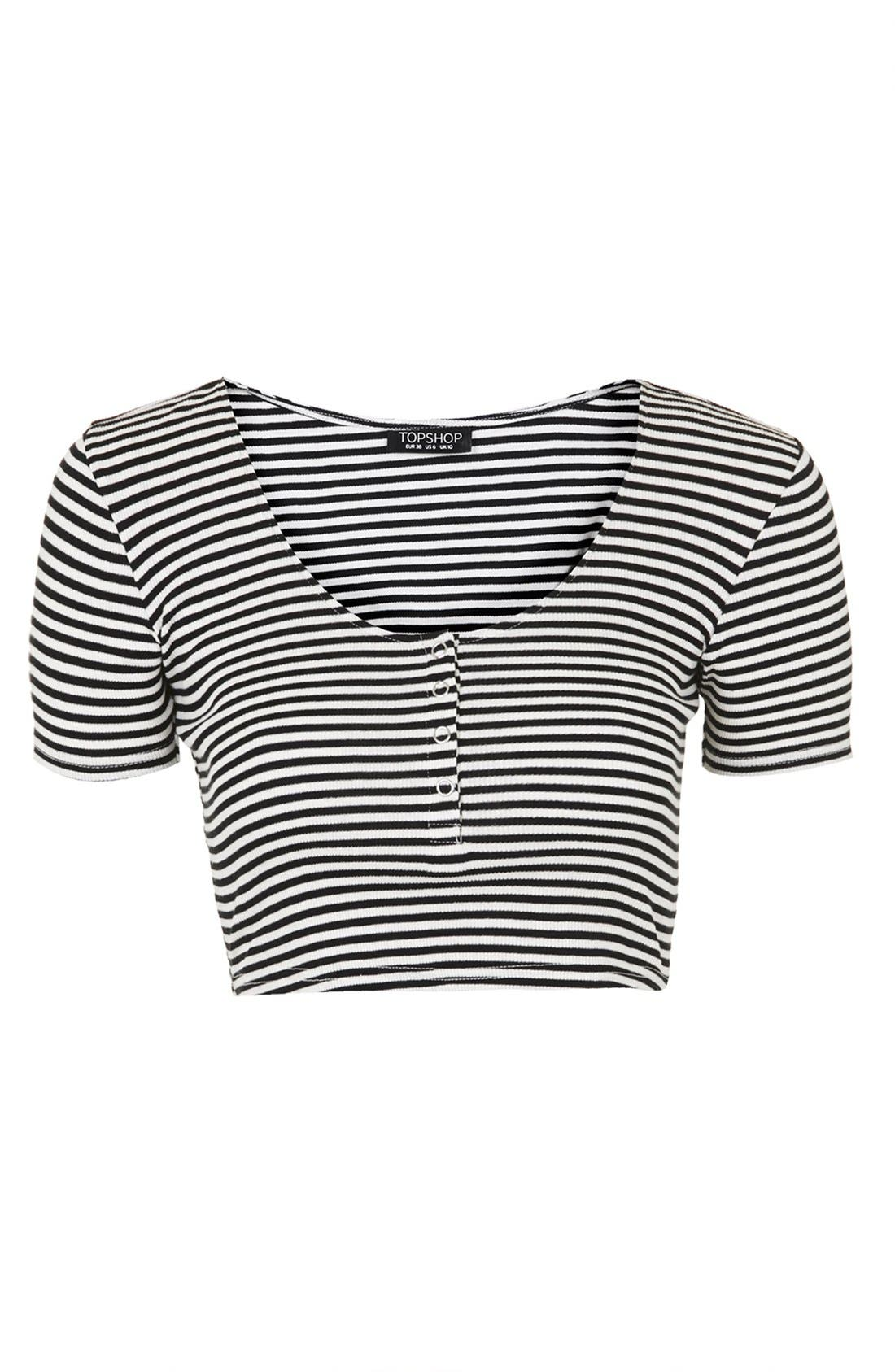 Alternate Image 4  - Topshop Stripe Rib Knit Crop Top