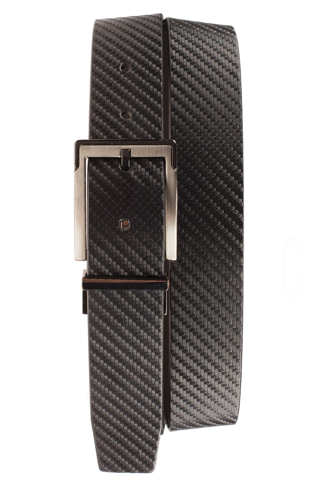 Reversible Leather Belt,                         Main,                         color, Black/ White