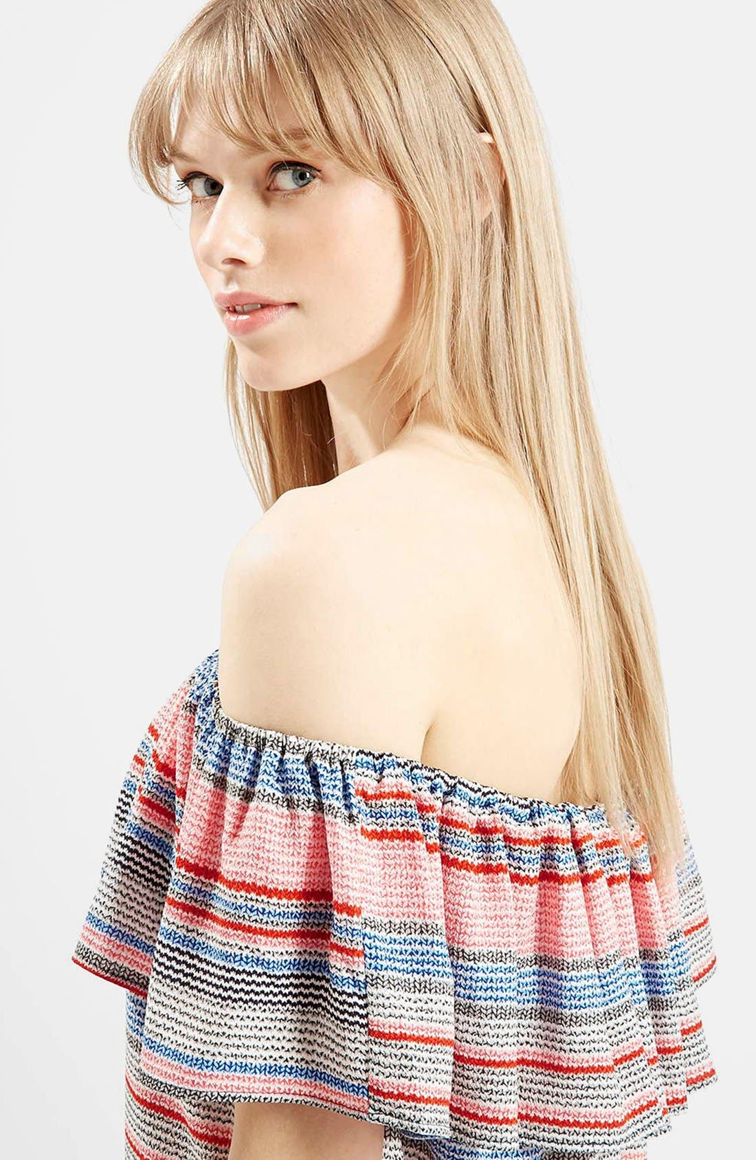 'Sumi' Stripe Off the Shoulder Dress,                             Alternate thumbnail 4, color,                             Red Multi