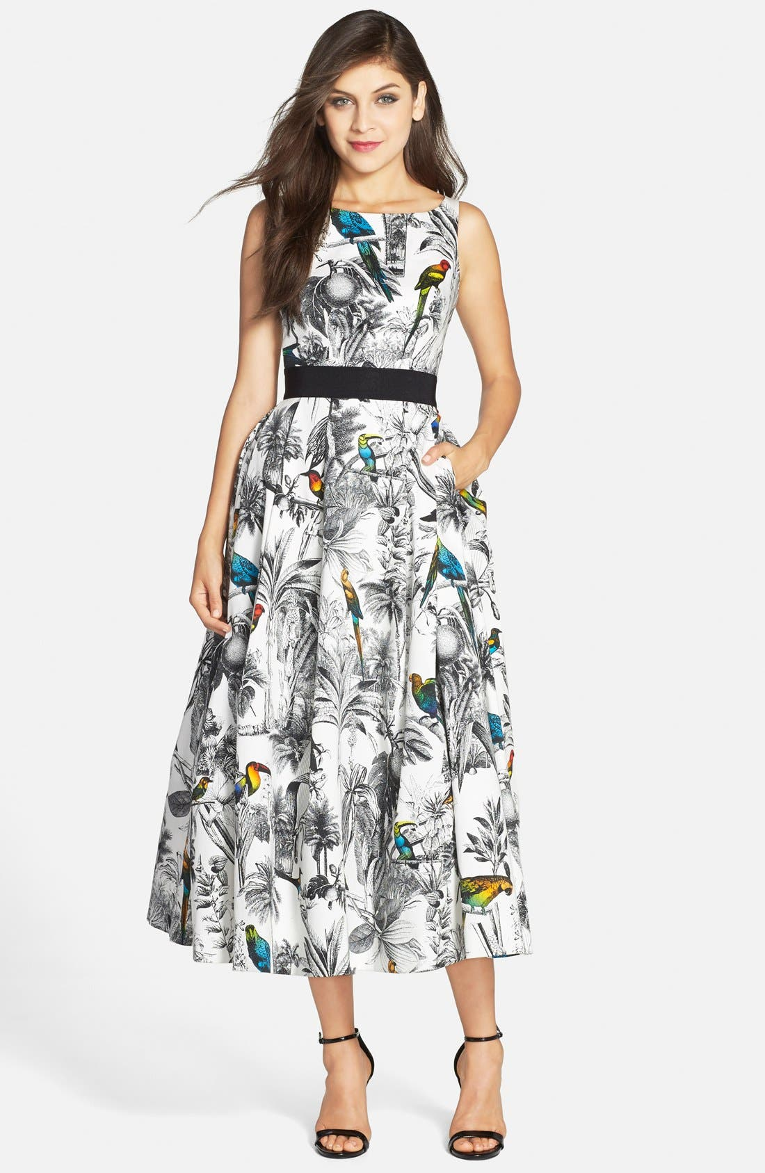 Main Image - Milly Tropical Print Cross Back Fit & Flare Midi Dress