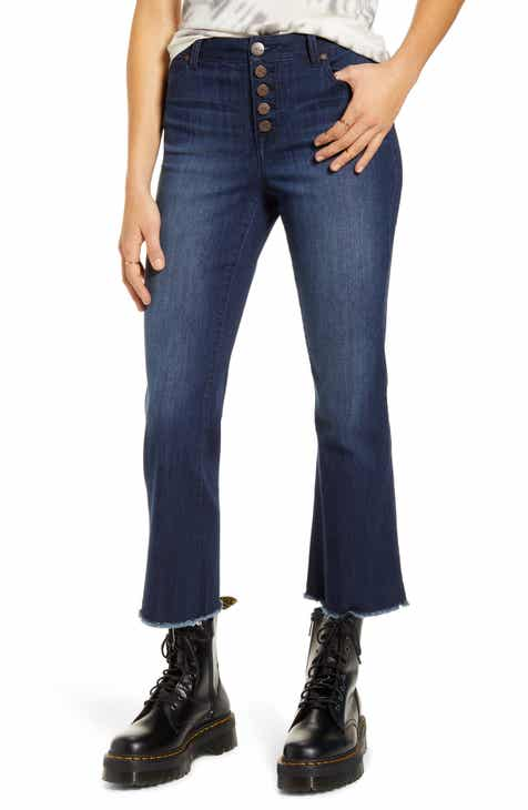 1822 Denim Button Front High Waist Crop Flare Jeans (Gavin)