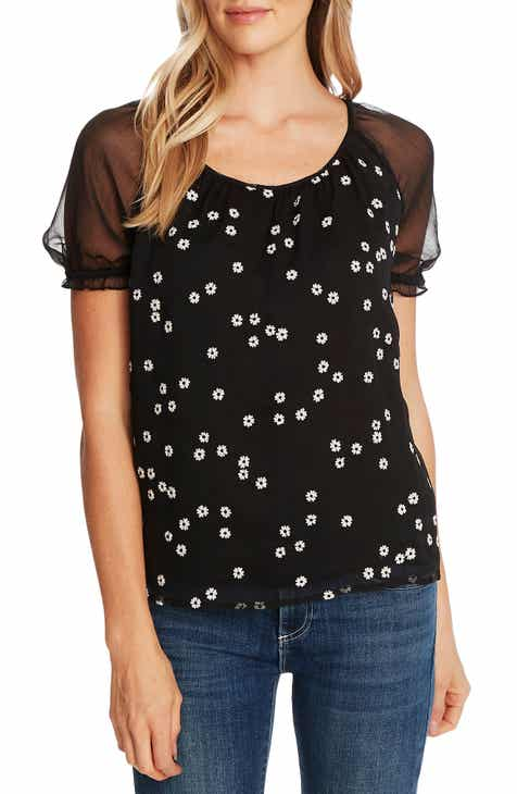 CeCe Embroidered Daisy Puff Sleeve Blouse