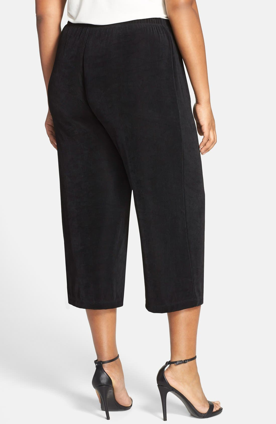 Stretch Knit Crop Pants,                             Alternate thumbnail 2, color,                             Black