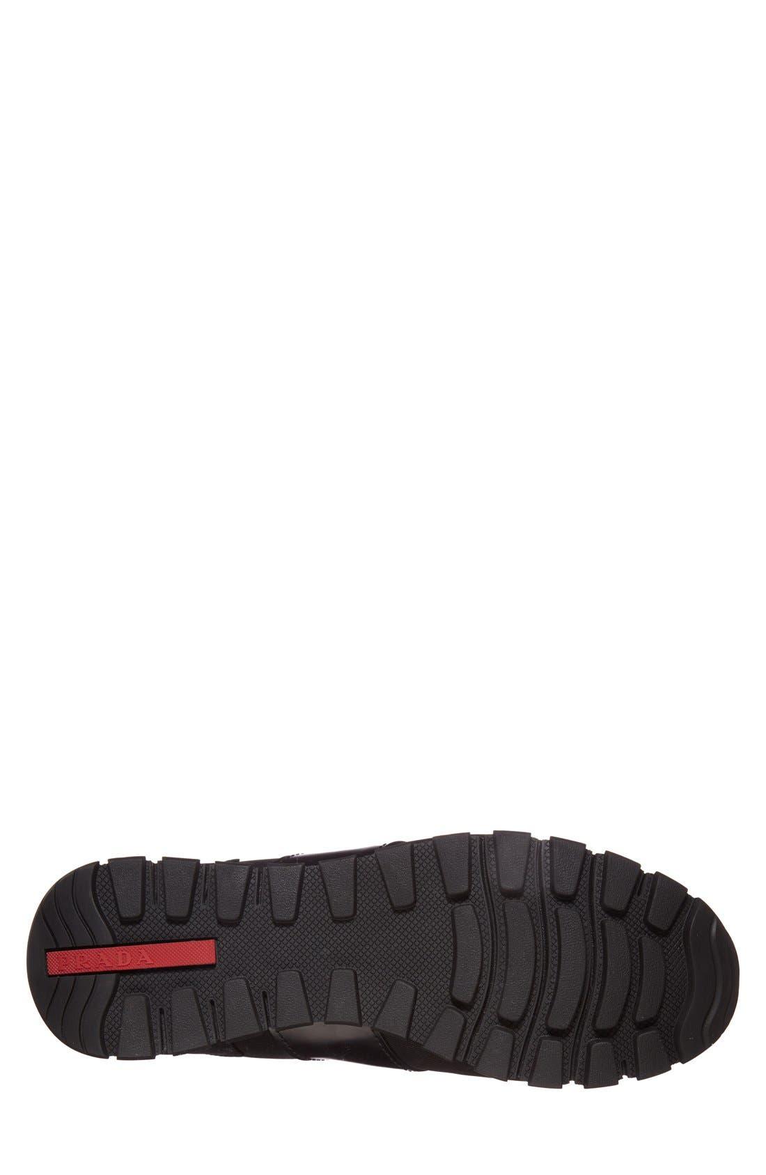Runner Sneaker,                             Alternate thumbnail 4, color,                             Black Fabric