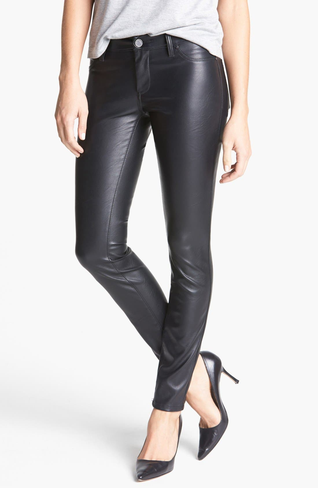 Faux Leather Skinny Pants,                         Main,                         color, Blacked Out