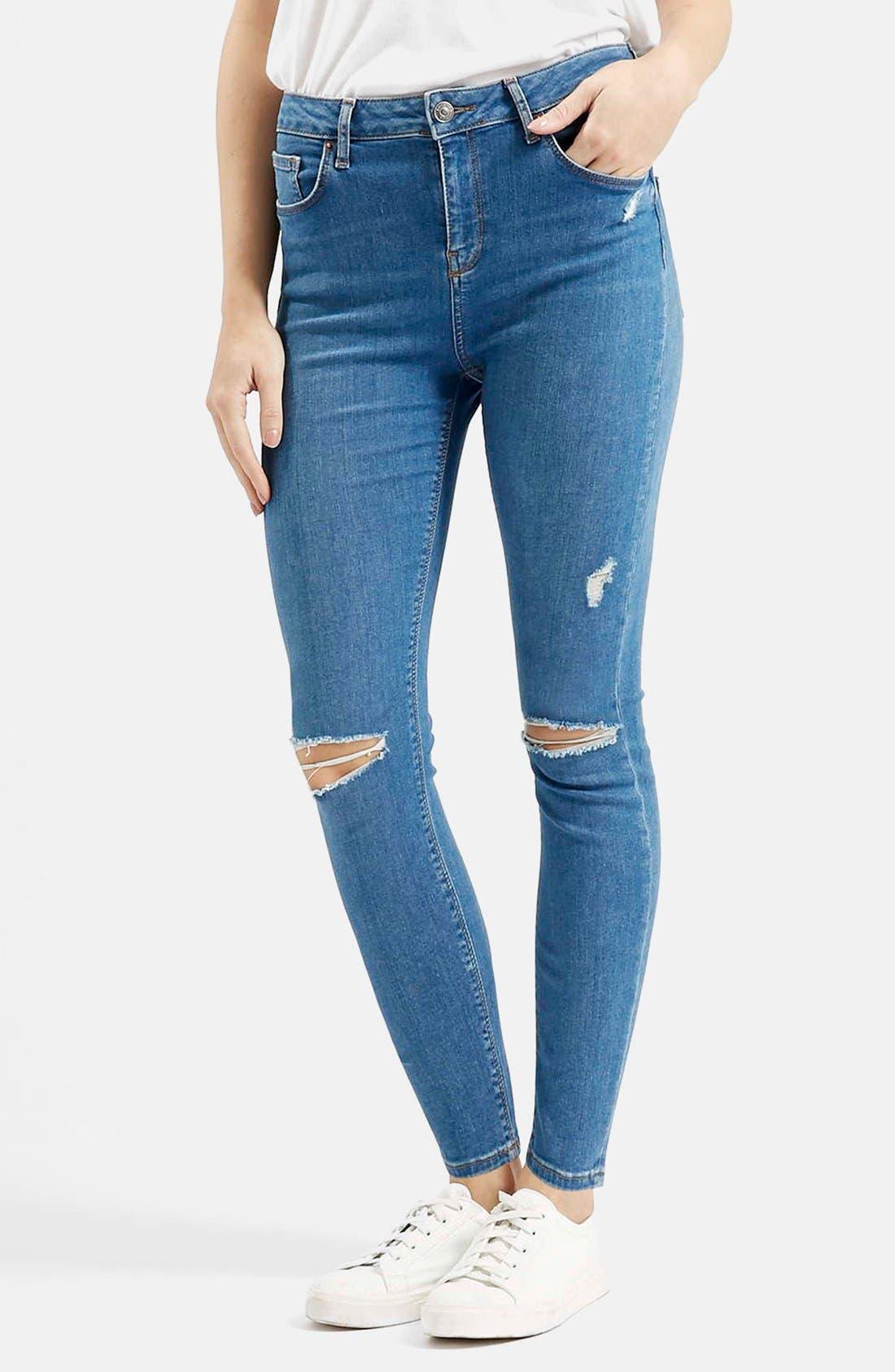Main Image - Topshop Moto 'Jamie' High Rise Skinny Jeans (Mid Denim) (Regular & Petite)