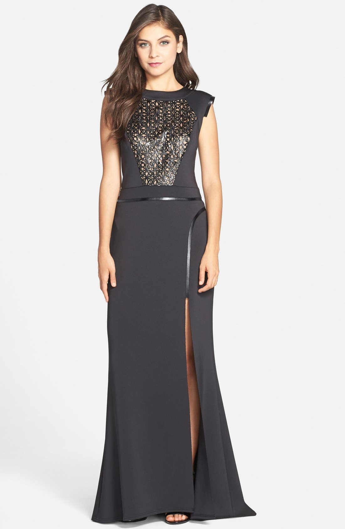 Alternate Image 1 Selected - Tadashi Shoji Laser Cut Leatherette & Neoprene Gown
