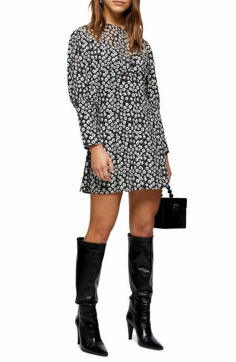 Topshop Long Sleeve Floral Print Minidress (Petite)