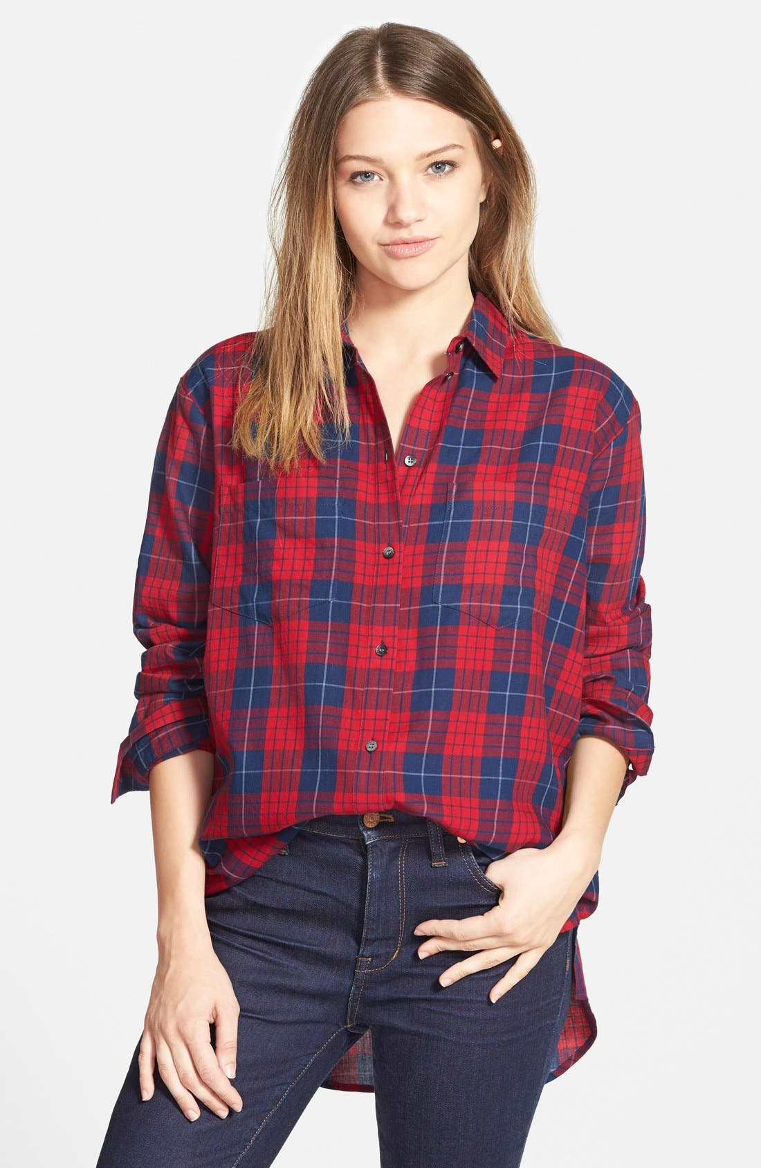 'Edina Plaid' Oversize Boyshirt,                         Main,                         color, Nouveau Red