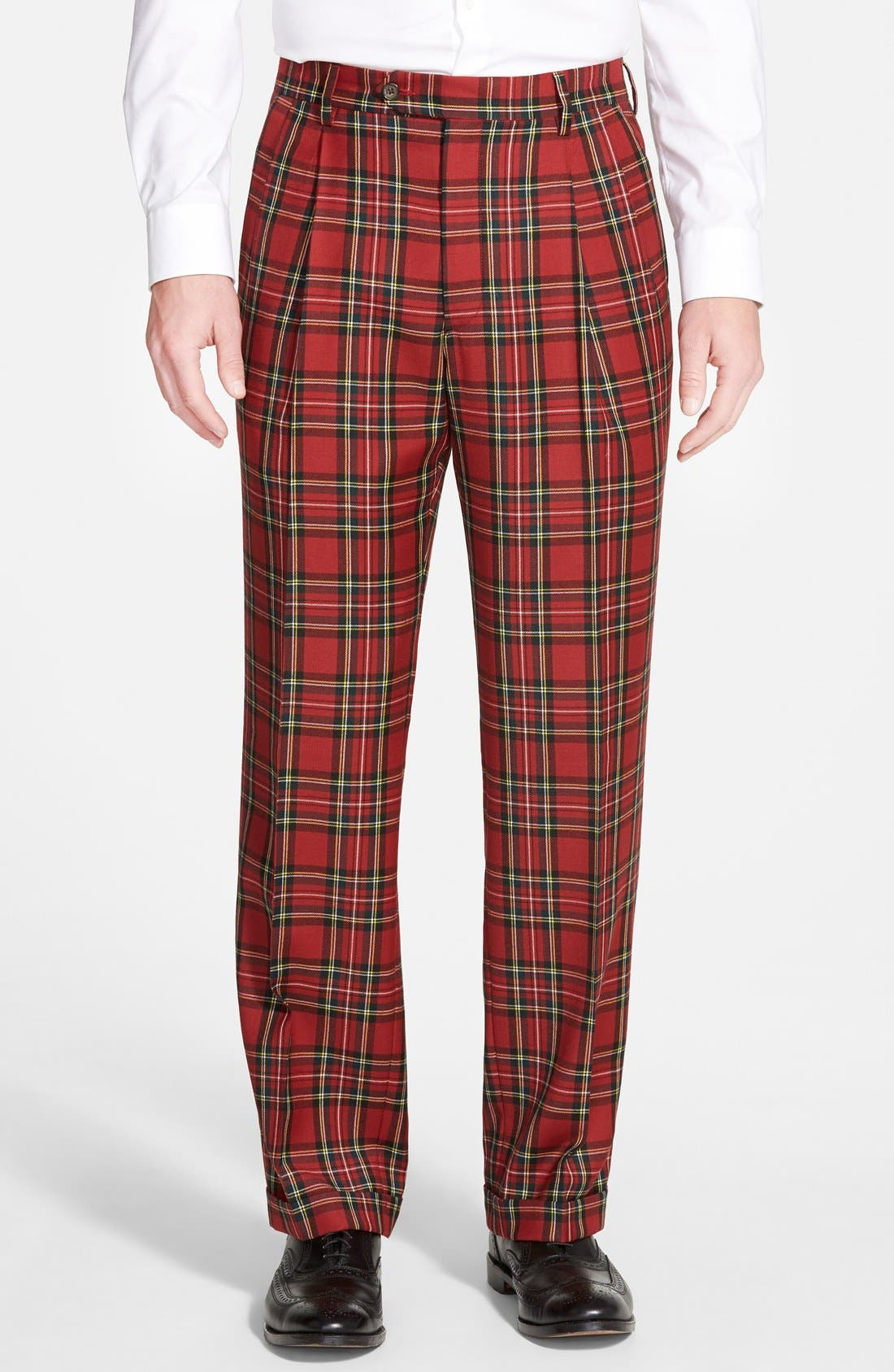 Pleated Plaid Wool Trousers,                         Main,                         color, Red