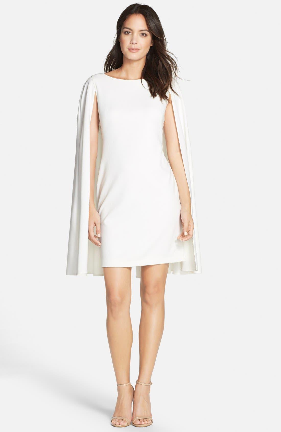 Cape Sheath Dress,                             Main thumbnail 1, color,                             Ivory