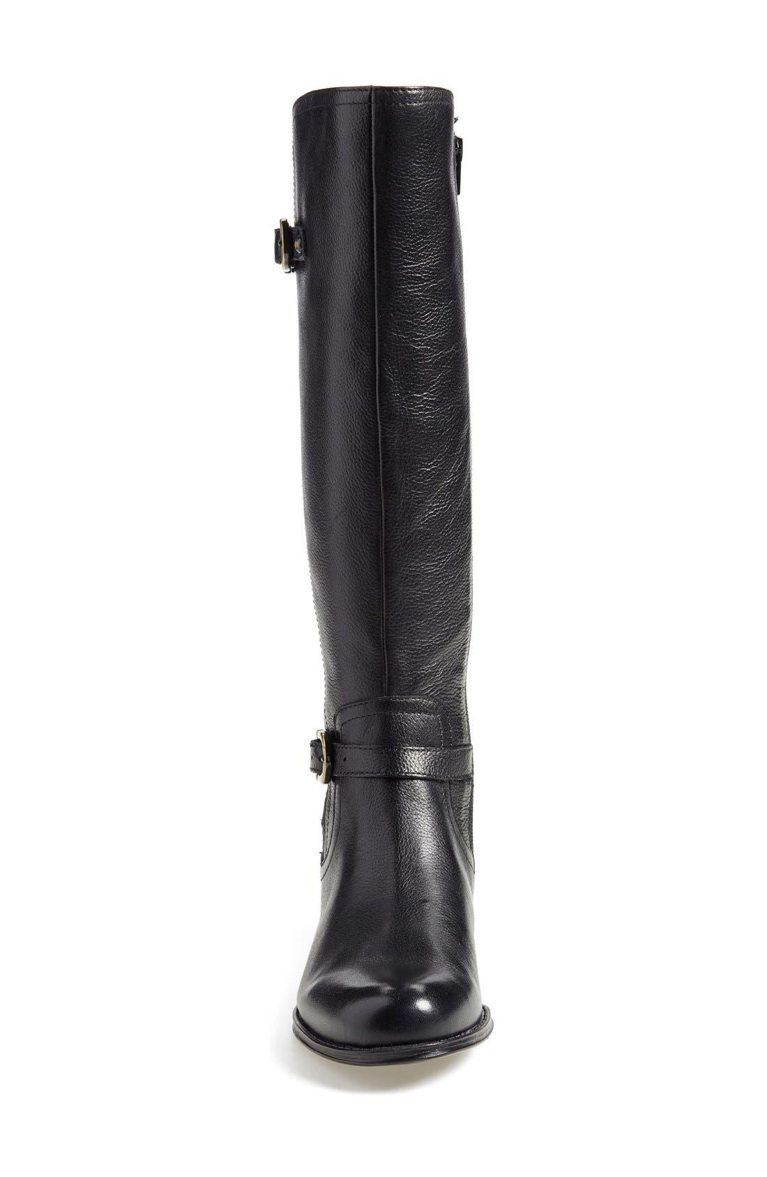'Jennings' Knee High Boot,                             Alternate thumbnail 3, color,                             Black Leather