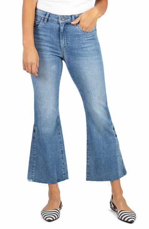 KUT from the Kloth Kelsey High Waist Slit Hem Ankle Kick Flare Jeans (Flower)