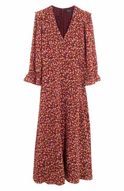 Madewell Ruffle Sleeve Crossover Midi Dress