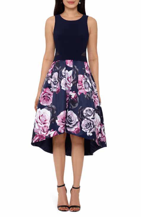 Xscape Floral High/Low Cocktail Dress