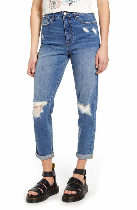 Tinsel Destructed High Waist Mom Jeans (Kelsey)