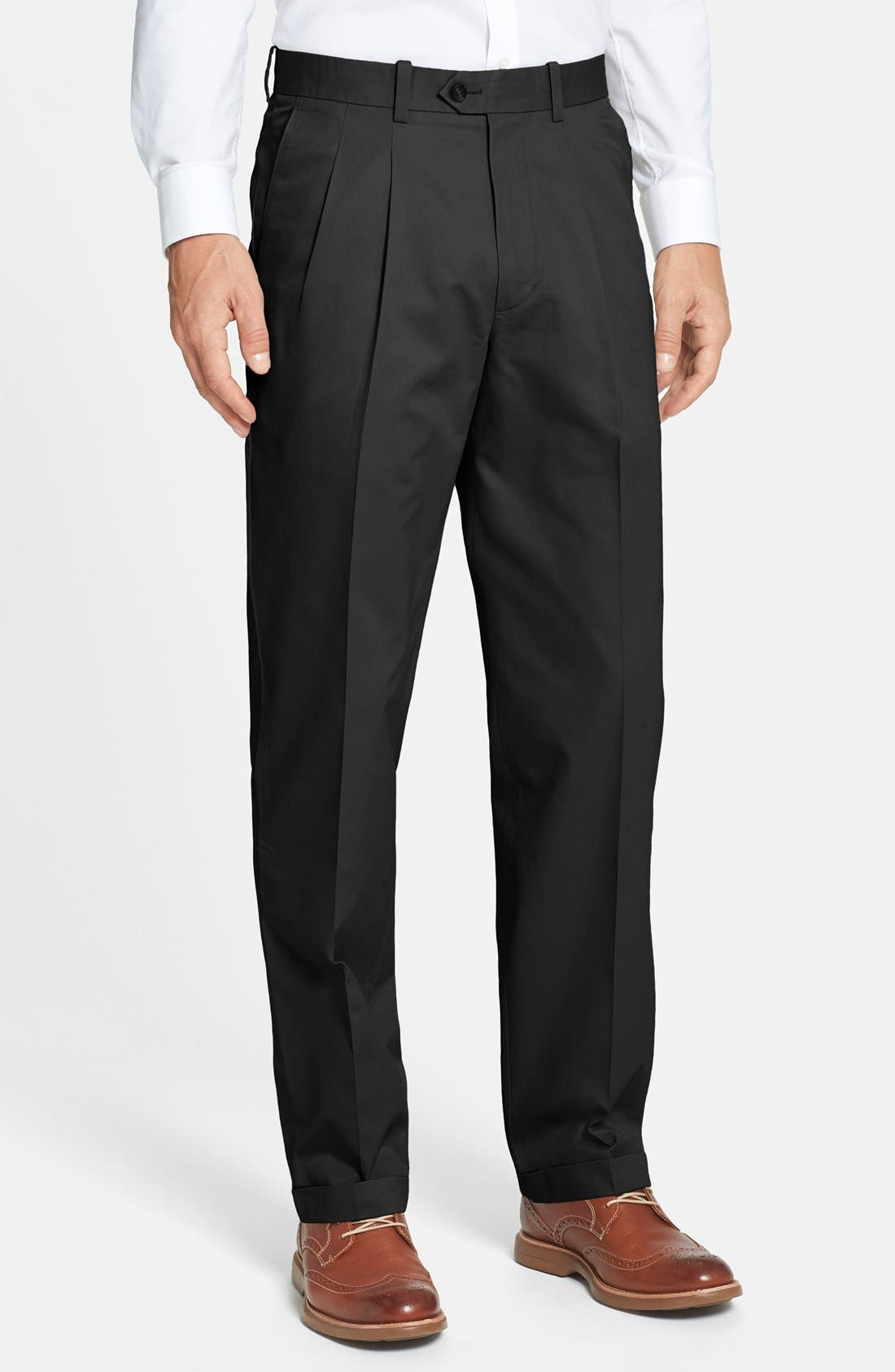 Main Image - John W. Nordstrom® Smartcare™ Pleated Supima® Cotton Pants