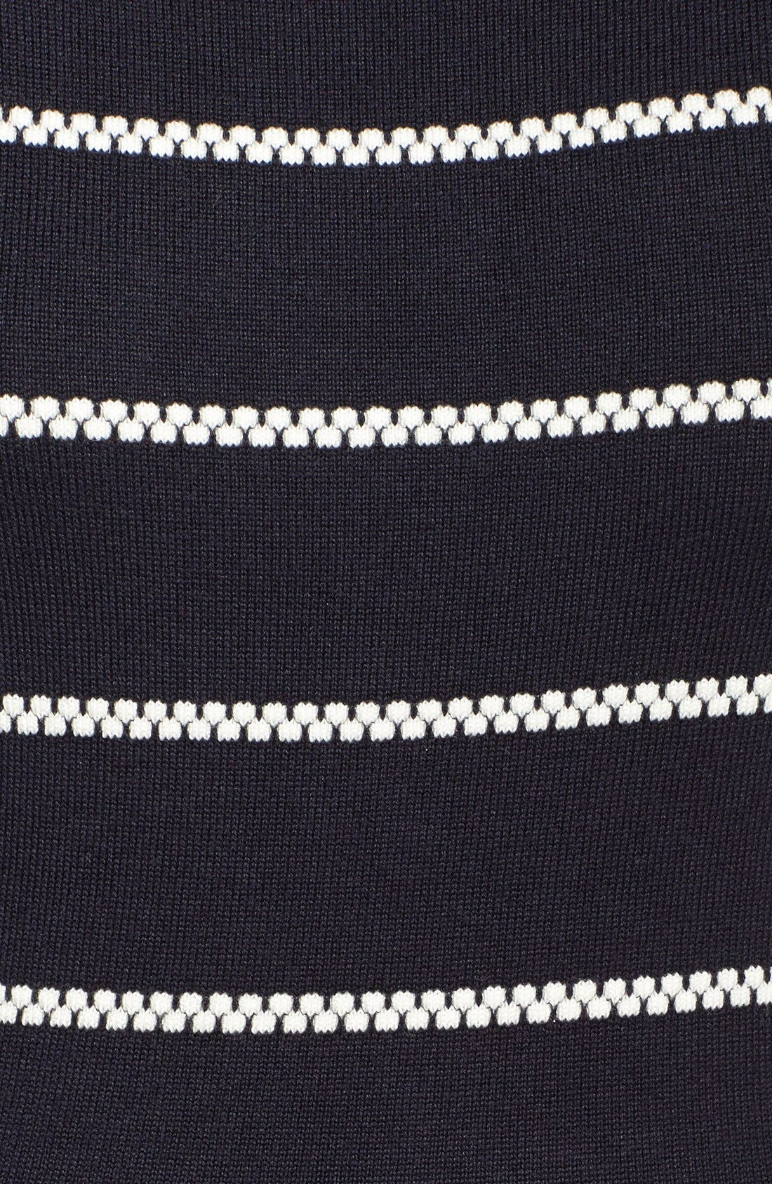 Stripe Fit & Flare Sweater Dress,                         Main,                         color, Navy/Ivory