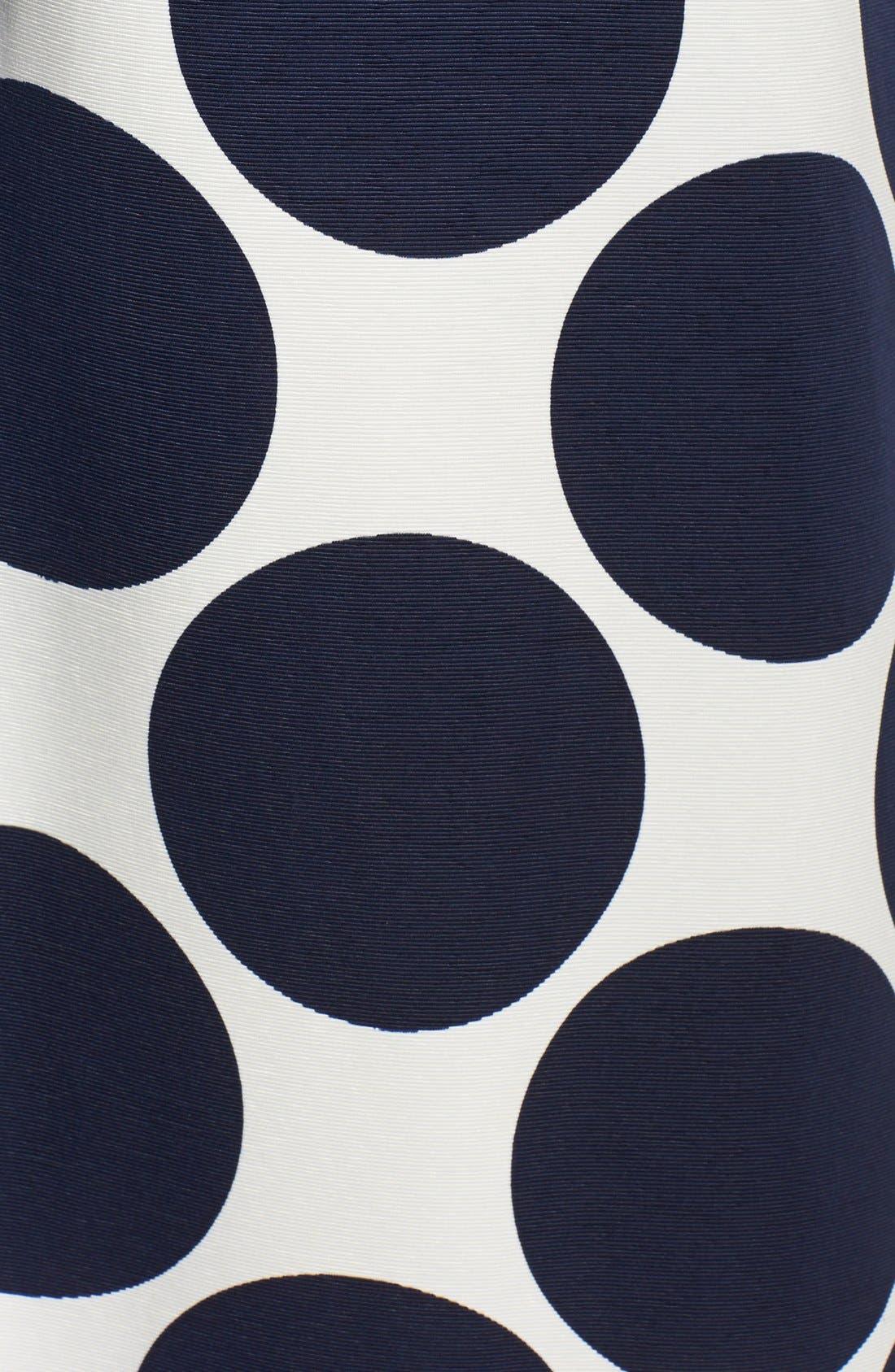 Pleated Dot Print Ball Skirt,                             Alternate thumbnail 3, color,                             Navy/ Ivory