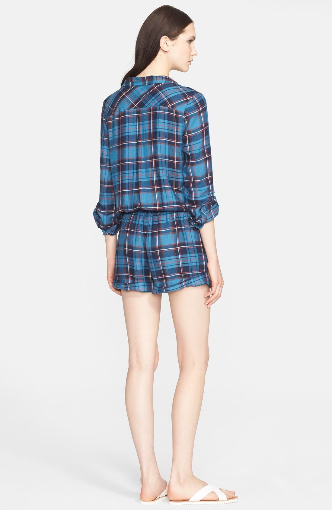 'Ravyn' Plaid Romper,                             Alternate thumbnail 2, color,                             Blue Steel