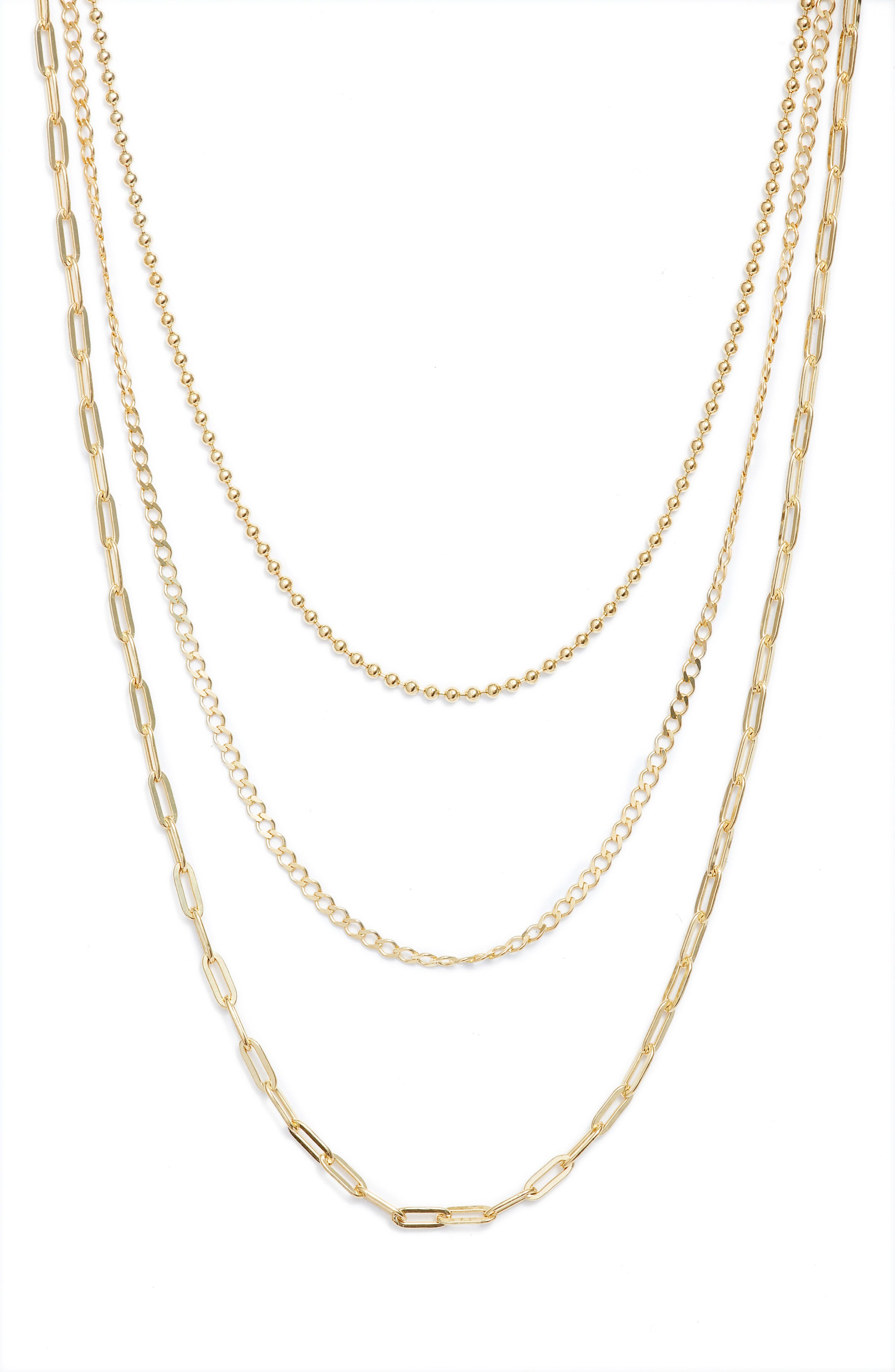 combined necklace chain necklaces,ladies chain necklace, gold plated chain necklaces Gold plated triple chain combo necklace