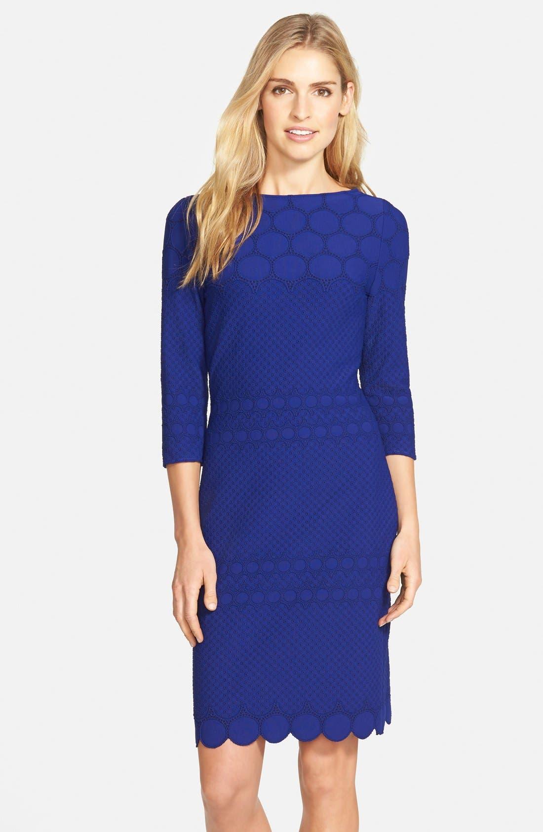 Main Image - Julia Jordan Eyelet Sheath Dress (Online Only)