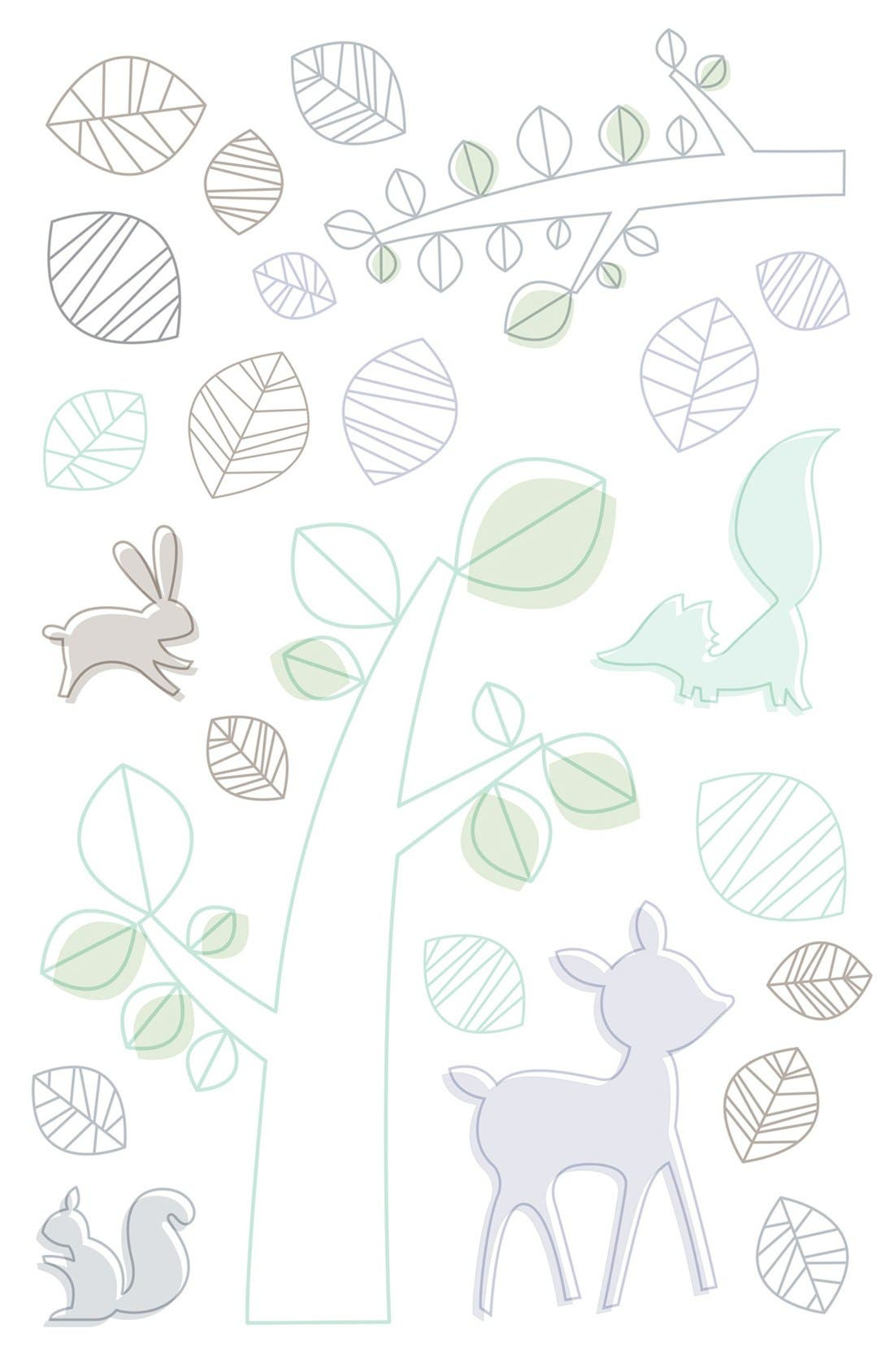 'Woods' Crib Sheet, Crib Skirt, Contour Changing Pad, Play Blanket & Wall Decals,                             Alternate thumbnail 5, color,                             Green