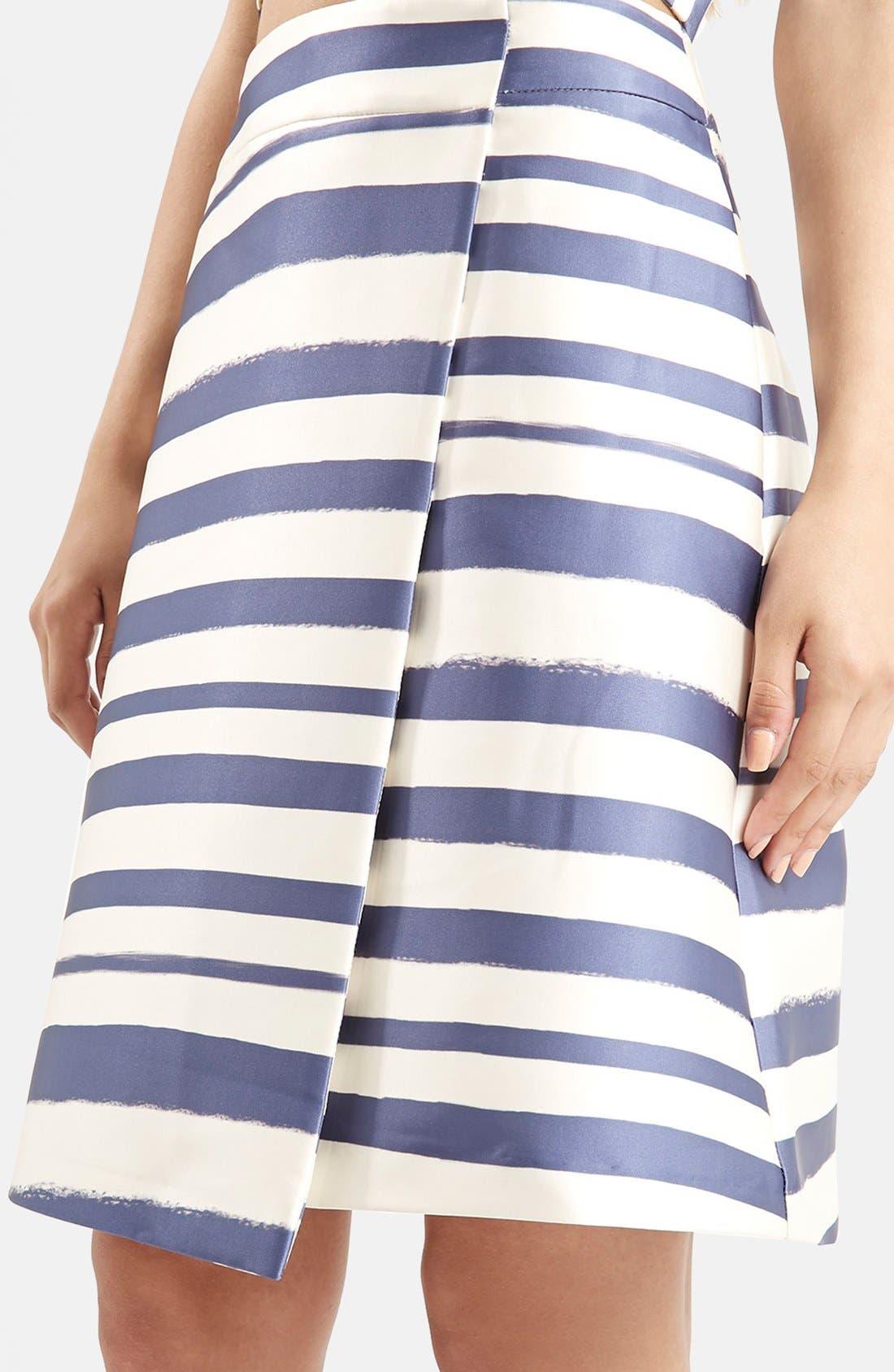 Stripe Midi Skirt,                             Alternate thumbnail 5, color,                             Navy Blue Multi