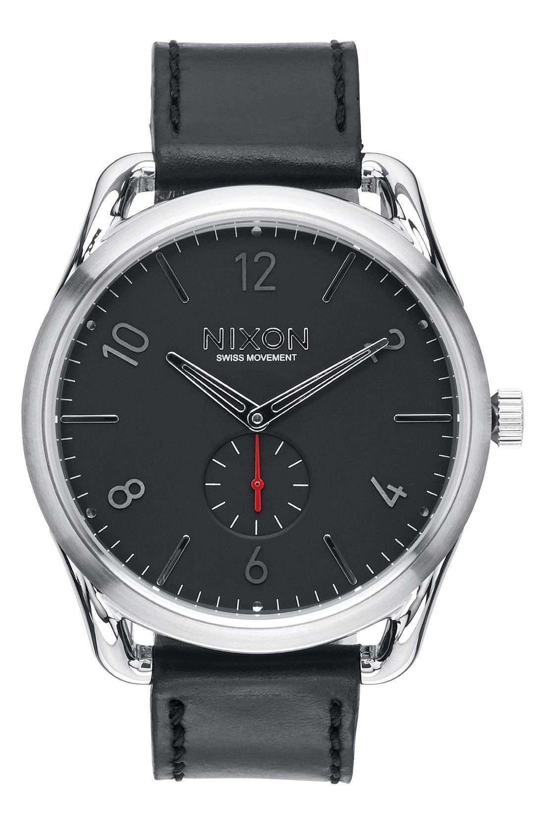 'The C45' Leather Strap Watch, 47mm,                         Main,                         color, Black/ Silver