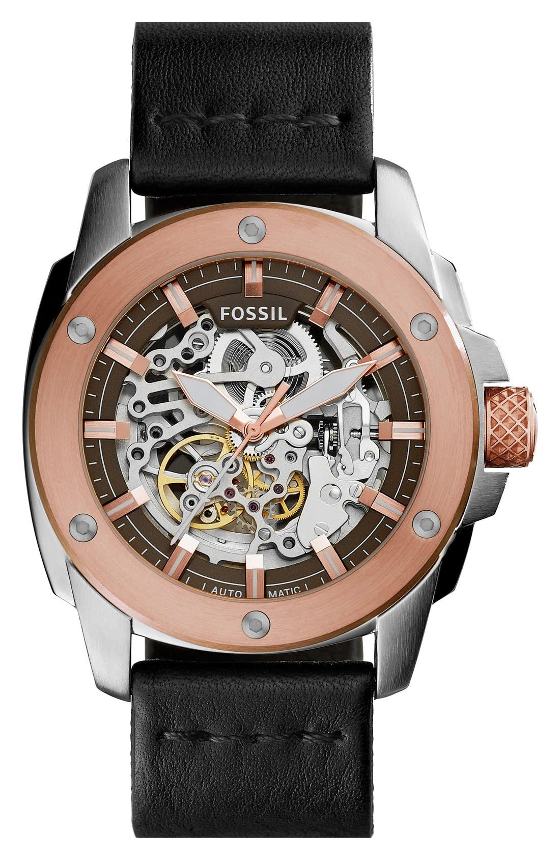 'Modern Machine' Skeleton Dial Leather Strap Watch, 50mm,                         Main,                         color, Black/ Rose Gold