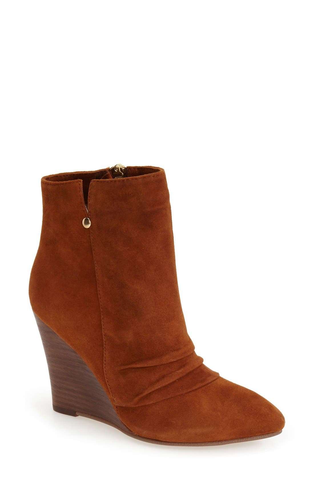 'Candyce' Wedge Bootie,                             Main thumbnail 1, color,                             Ginger Suede