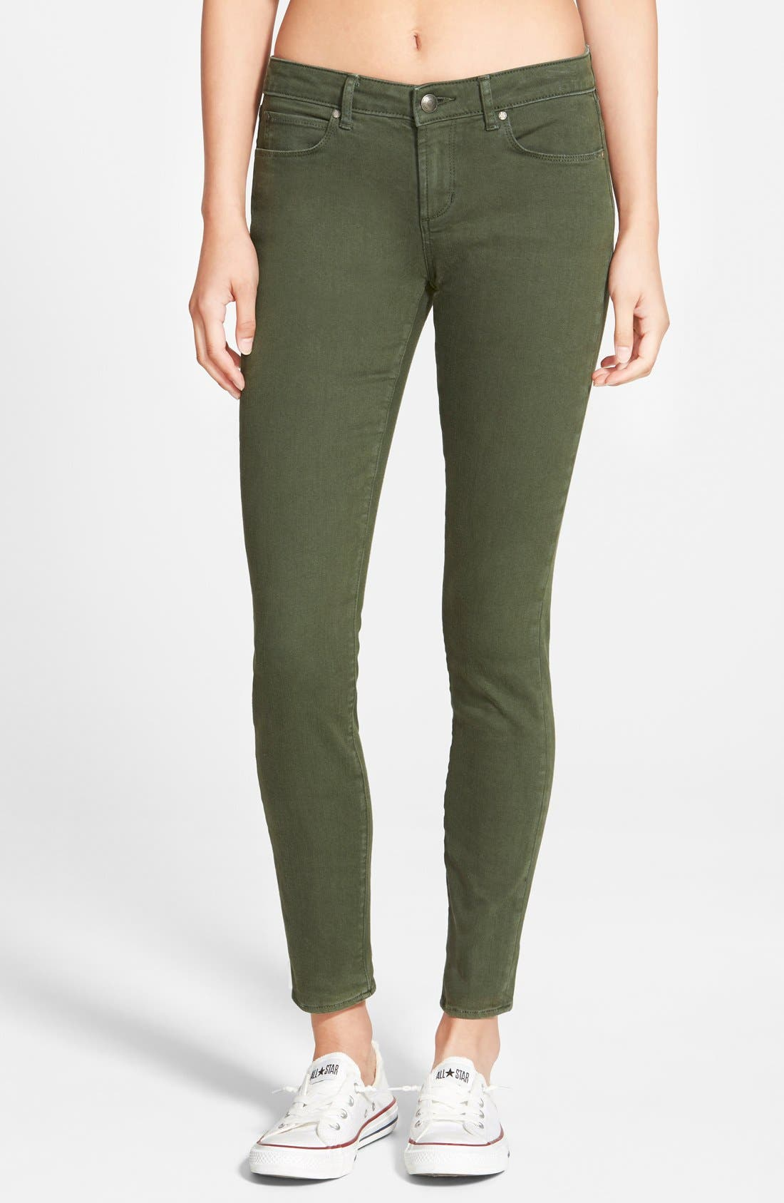 Main Image - Articles of Society 'Cindy' Overdye Skinny Jeans (Olive)