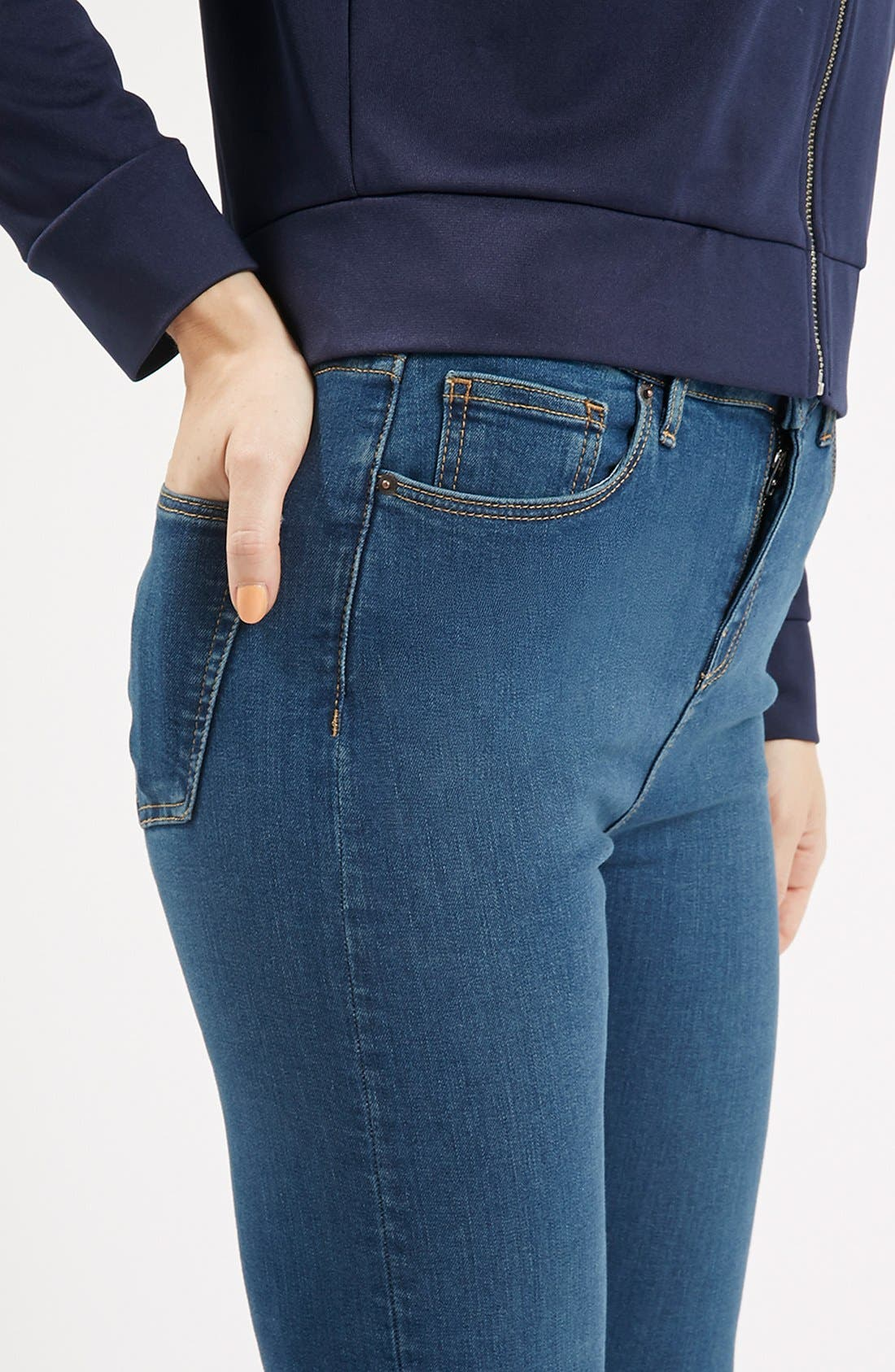 Alternate Image 5  - Topshop Moto 'Jamie' High Rise Skinny Jeans (Blue)