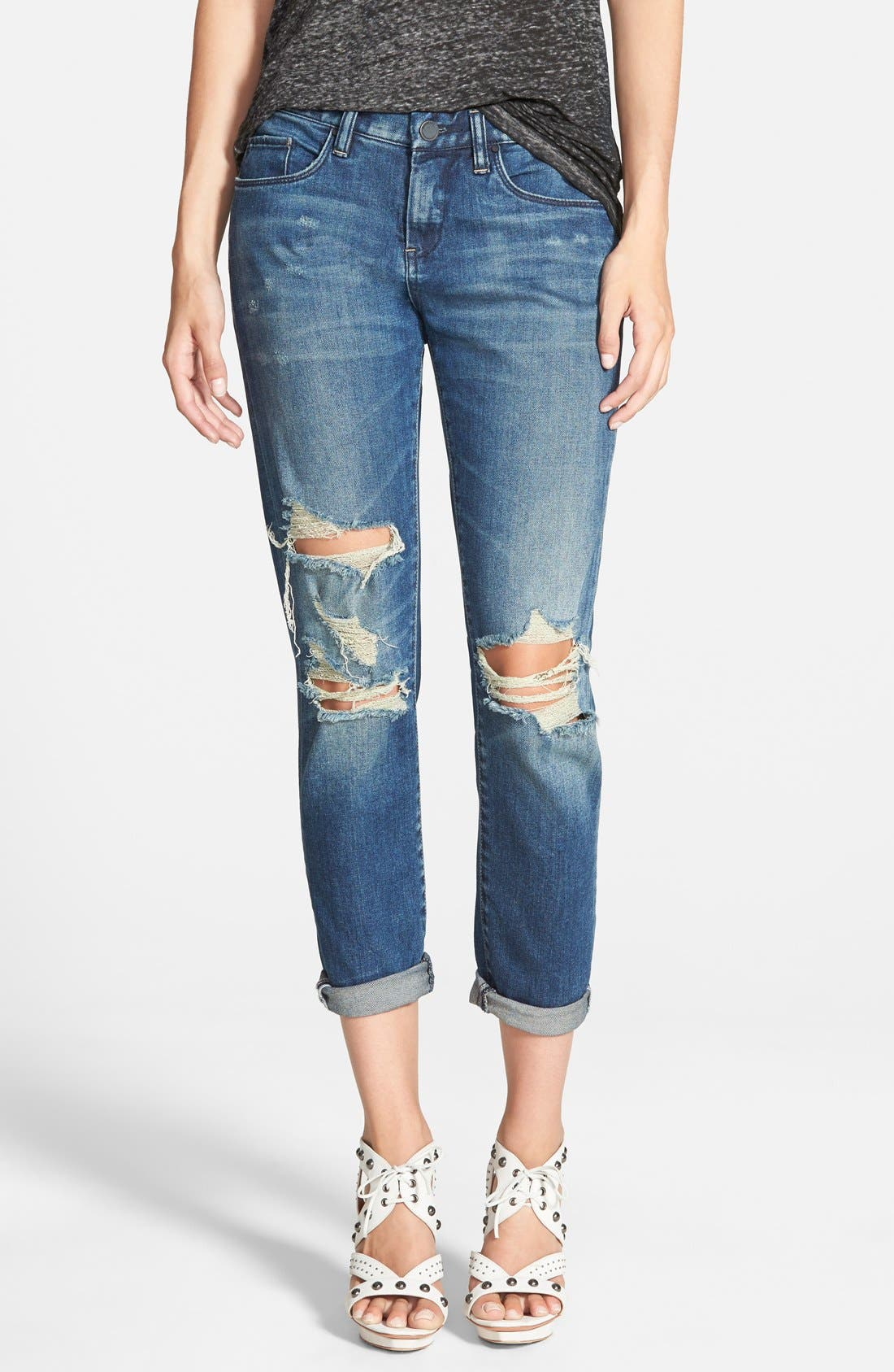 Main Image - BLANKNYC Destroyed Boyfriend Jeans (Blue)