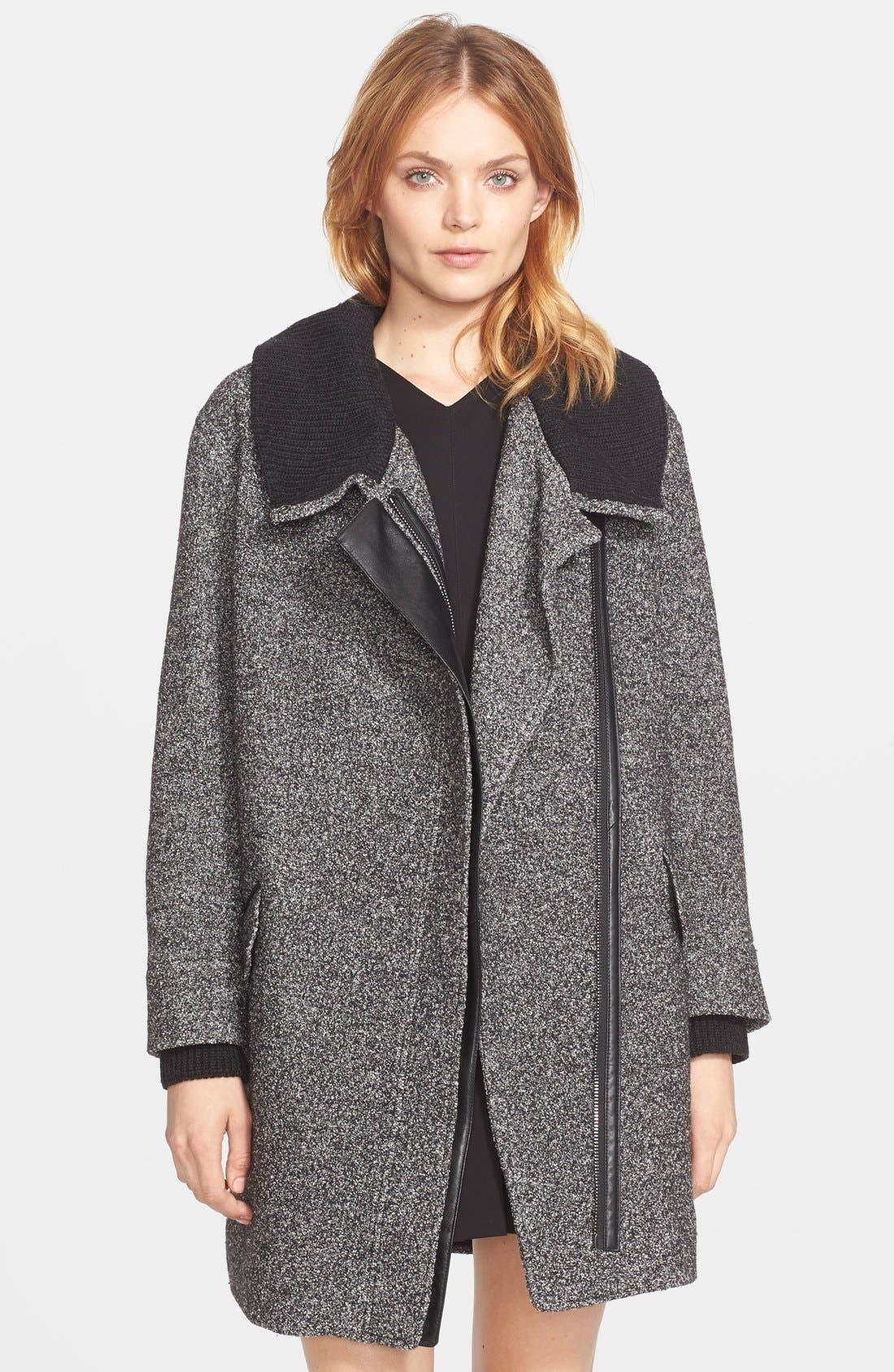 Rib Knit Collar Asymmetrical Coat,                             Main thumbnail 1, color,                             Black/ Off White