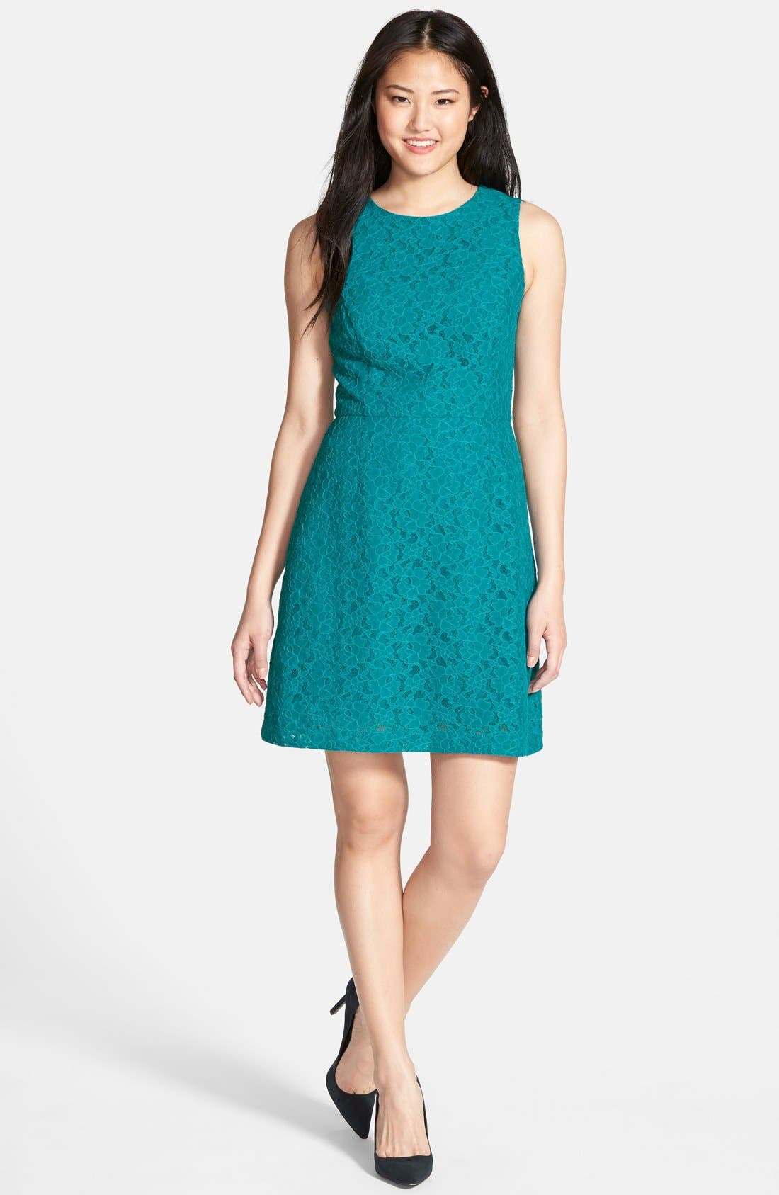 Alternate Image 1 Selected - Halogen® Lace Fit & Flare Dress (Regular & Petite)