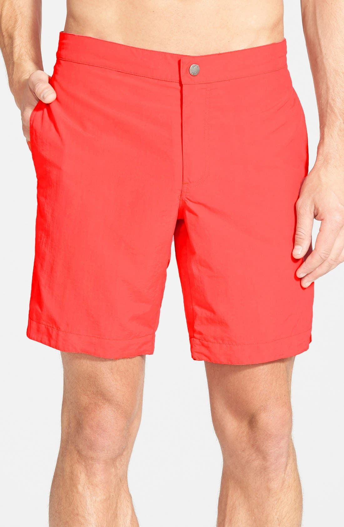 'Aruba - Island' Tailored Fit 8.5 Inch Board Shorts,                             Main thumbnail 1, color,                             Island Coral Red